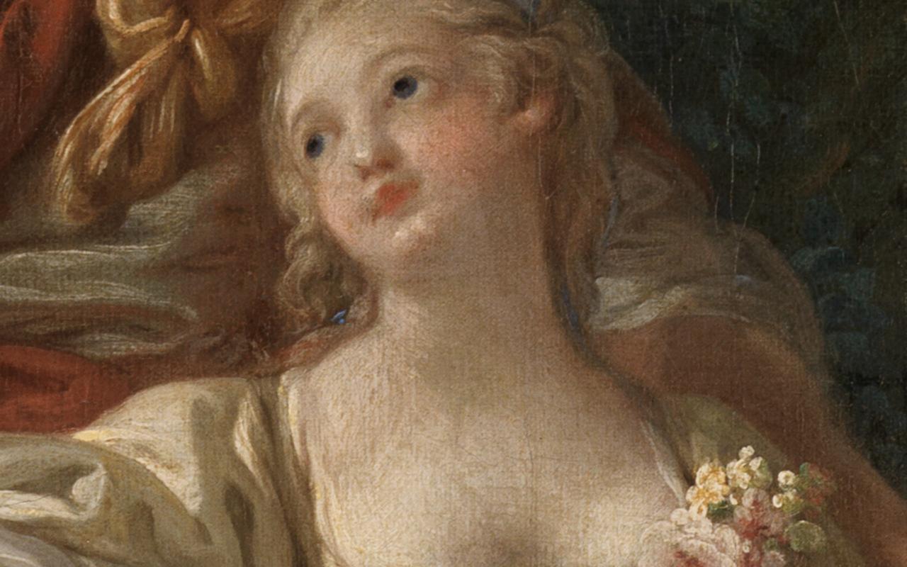 Detail. welches den Teint der Schäferin aus dem Gemälde Schäfer und Schäferin von Boucher in den Fokus stellt