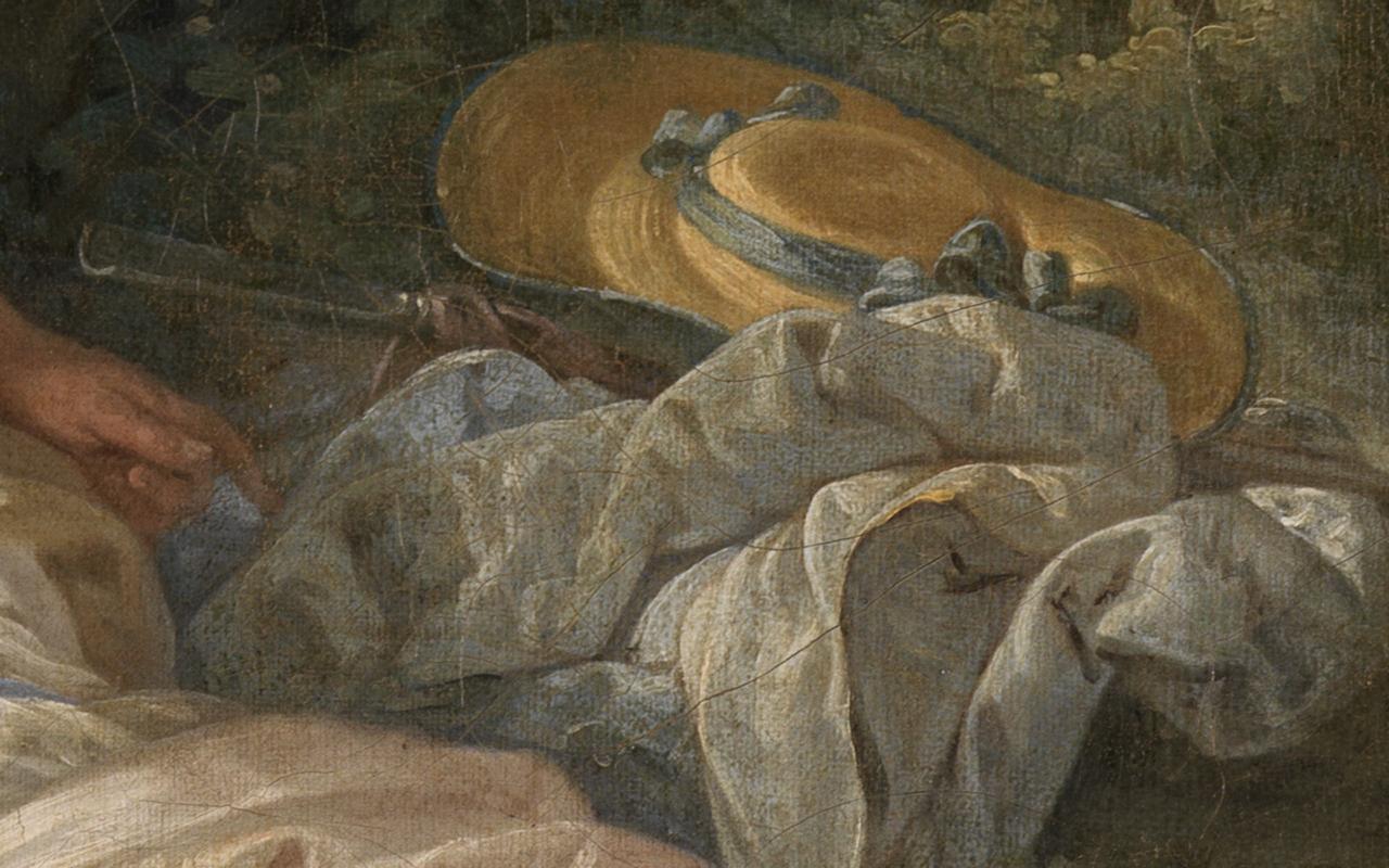 Detail eines drapierten Tuchs, eines Huts und Hirtenstabs in Bouchers Gemälde Schäfer und Schäferin