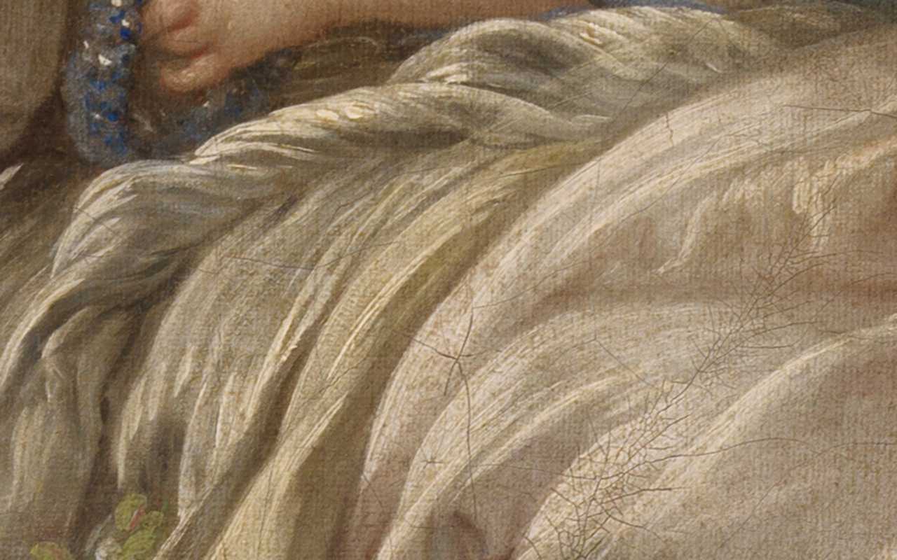 Detail, das den Faltenwurf und die Farbigkeit sowie Stofflichkeit des Kleides der Schäferin in Bouchers Gemälde Schäfer und Schäferin zeigt