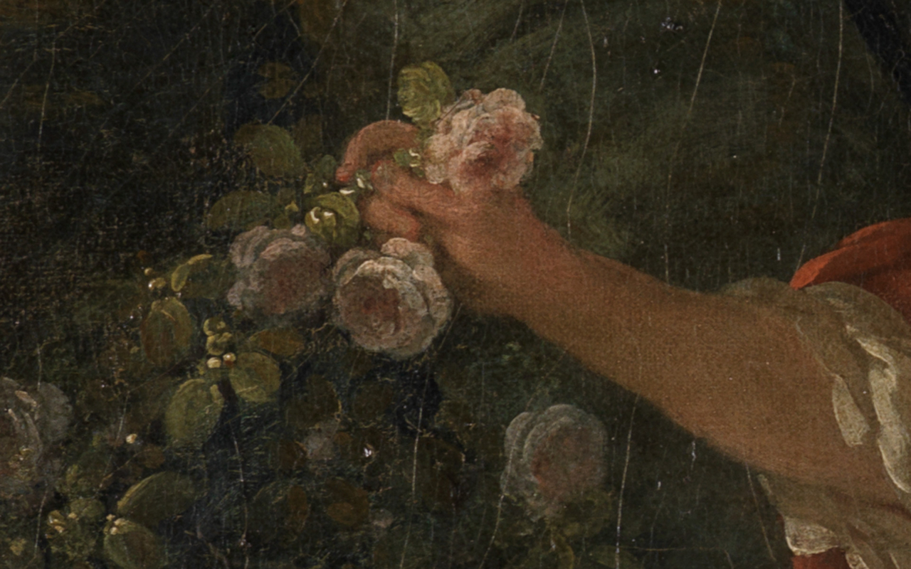 Detail der nach der Rose greifenden Jünglings aus Bouchers Gemälde Schäfer und Schäferin