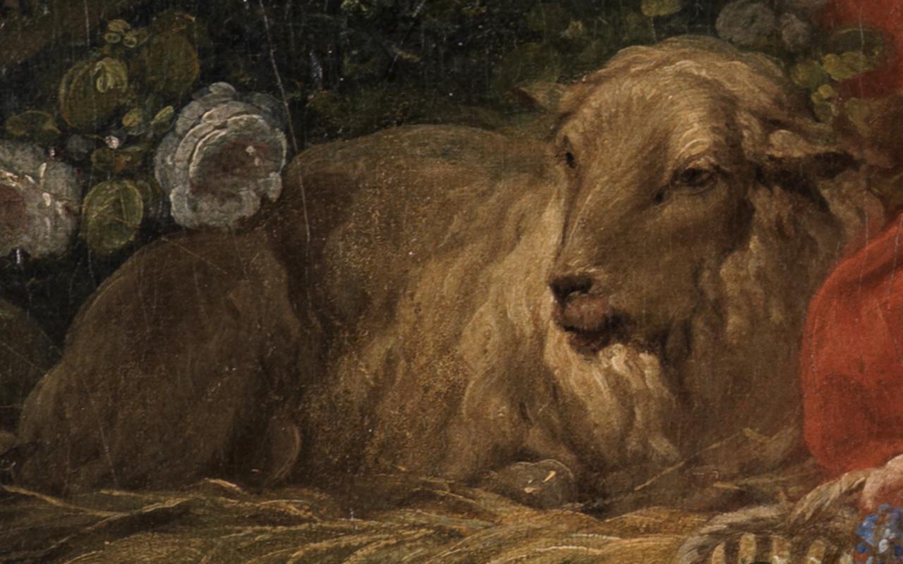 Details des Schafs in Bouchers Hirtenszene Schäfer und Schäferin