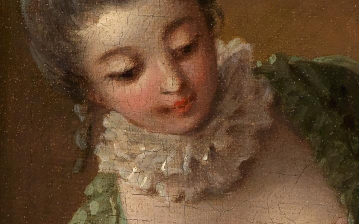Halskrause im Detailausschnitt des Gemäldes Das gelehrige Hündchen von François Boucher.