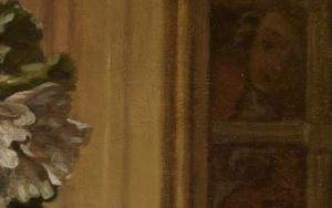 Beobachter hinter Fenster im Detailausschnitt des Gemäldes Das gelehrige Hündchen von François Boucher.