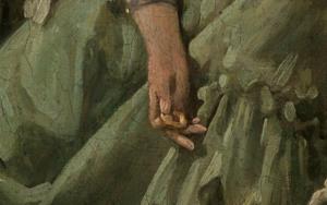 Gebäckkringel im Detailausschnitt des Gemäldes Das gelehrige Hündchen von François Boucher.