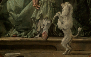Pudel im Detailausschnitt des Gemäldes Das gelehrige Hündchen von François Boucher.