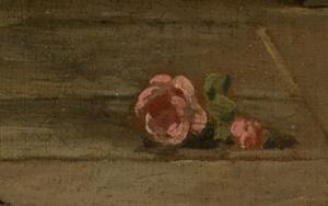 Rose im Detailausschnitt des Gemäldes Das gelehrige Hündchen von François Boucher.