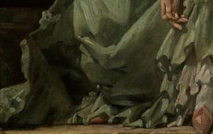 Detail des Kleides im Gemälde Das gelehrige Hündchen von François Boucher.