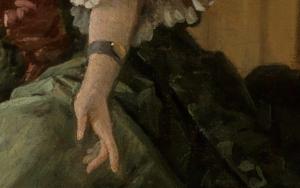 Linke Hand im Detailausschnitt des Gemäldes Das gelehrige Hündchen von François Boucher.