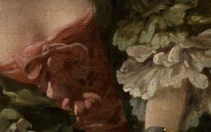 Mieder im Detailausschnitt des Gemäldes Das gelehrige Hündchen von François Boucher.
