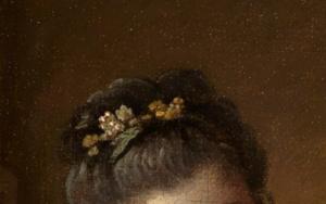 Haarreif im Detailausschnitt des Gemäldes Das gelehrige Hündchen von François Boucher.