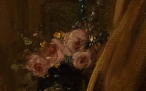 Blumen im Detailausschnitt des Gemäldes Das verzogene Kind von François Boucher.