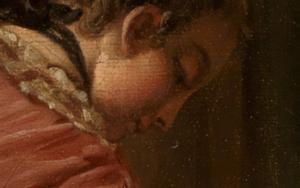 Gesicht der jungen Frau im Detailausschnitt des Gemäldes Das verzogene Kind von François Boucher.