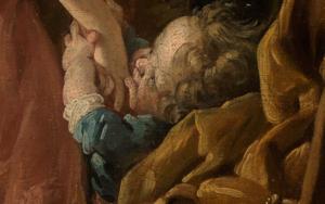 Kind im Detailausschnitt des Gemäldes Das verzogene Kind von François Boucher.
