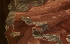 Kleid im Detailausschnitt des Gemäldes Das verzogene Kind von François Boucher.