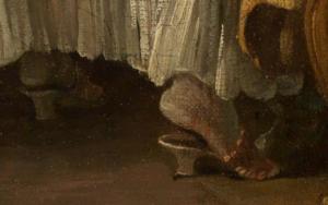 Mules Schuhe im Detailausschnitt des Gemäldes Das verzogene Kind von François Boucher.