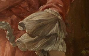 Volant im Detailausschnitt des Gemäldes Das verzogene Kind von François Boucher.