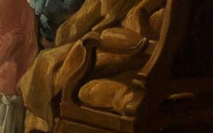 Vorhang im Detailausschnitt des Gemäldes Das verzogene Kind von François Boucher.