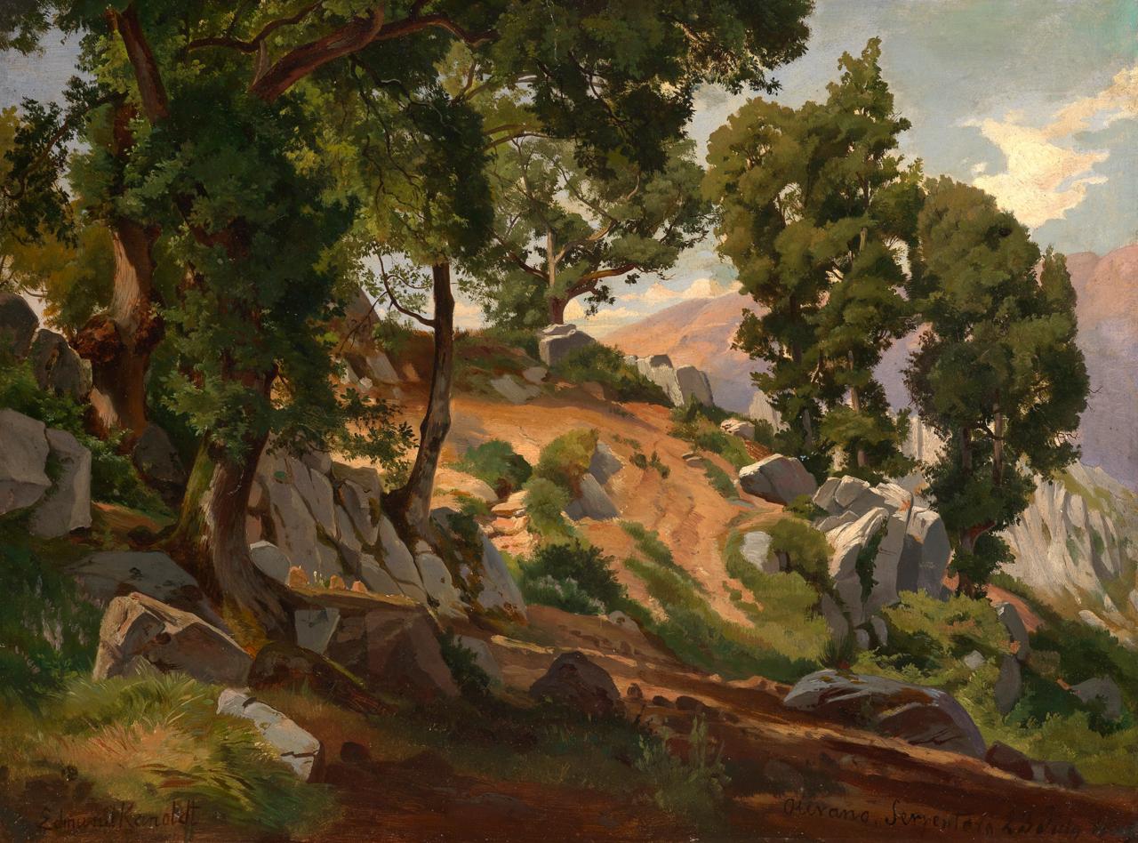 Gemälde des Malers Edmund Friedrich Kanoldt, das das italienische Steineichenwäldchen Serpentara zeigt