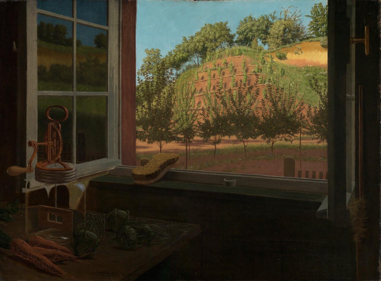 Georg Scholz Gemälde, in dem er den Blick aus einem Küchenfenster in die Natur zeigt.