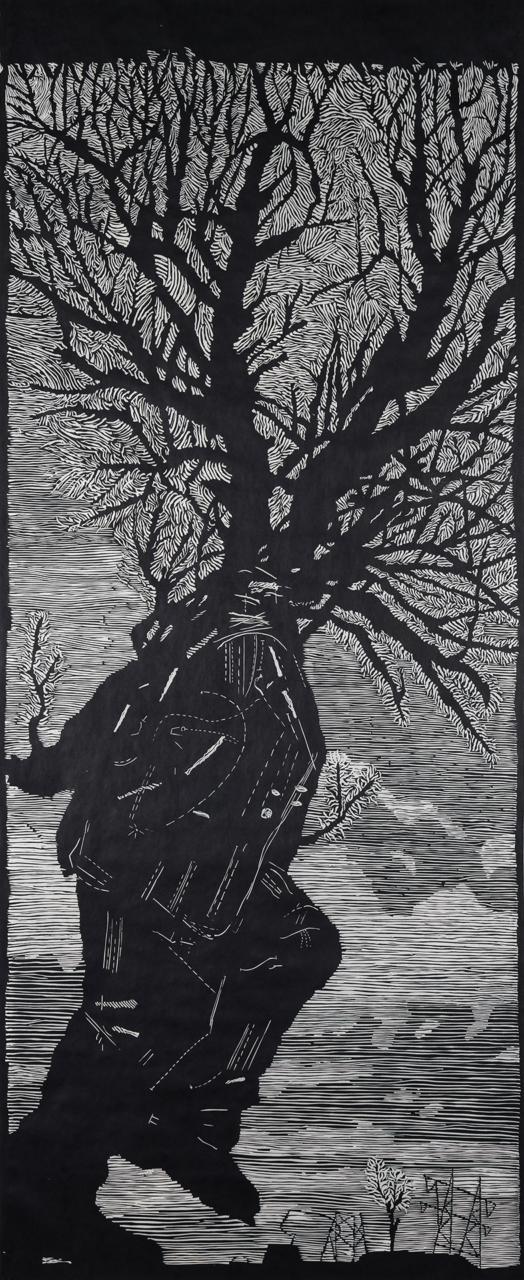 Abbildung von Kentrdiges Werk Walking Man, das einen Mann mit einer Baumkrone anstelle eines Kopfes zeigt.